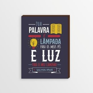 QUADRO DECORATIVO LÂMPADA PARA OS MEUS PÉS FUNDO AZUL [BOX DE MADEIRA]
