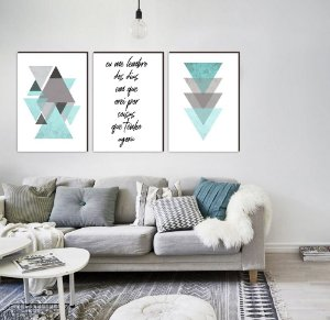Trio Geométrico Triângulos Eu me lembro dos dias em que orei por coisas que tenho agora AZUL TIFFANY [Box de Madeira]