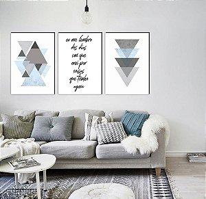 Trio Geométrico Triângulos Eu me lembro dos dias em que orei por coisas que tenho agora AZUL CLARO [Box de Madeira]