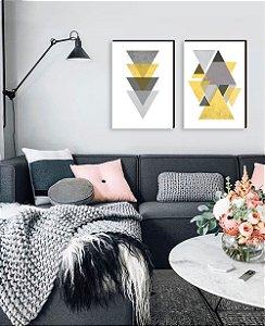 Dupla de quadros Geométricos cinza com amarelo[boxdemadeira]