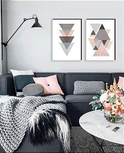 Dupla de quadros Geométricos cinza com rosa [boxdemadeira]