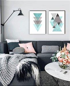 Dupla de quadros Geométricos cinza com azul tiffany [boxdemadeira]