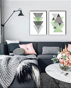 Dupla de quadros Geométricos Triângulos cinza com verde [boxdemadeira]