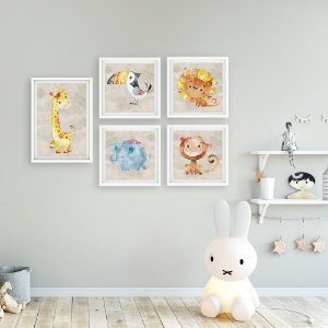 Kit Quadros Decorativos Animais Girafa e amigos [moldura e vidro]
