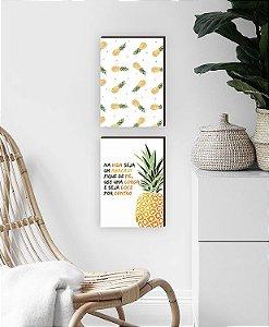 Dupla Quadros Decorativos para cozinha Seja abacaxi [Box de Madeira]