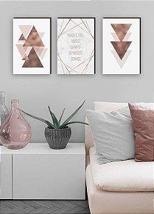 Trio de quadros Triângulos Rosê Gold Nada é tão Nosso[BOX DE MADEIRA]