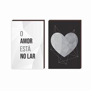 Dupla de quadros O amor está no lar coração fundo preto [boxdemadeira]