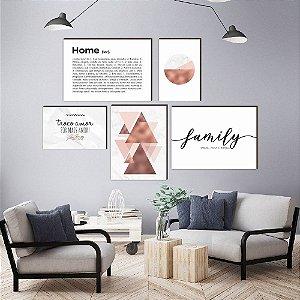 Kit Família e Lar Rosê Gold Family personalizado [Box de Madeira]