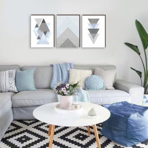 Trio de quadros Geométrico Azul [BOX DE MADEIRA]