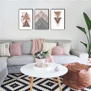 Trio de quadros Geométrico Triângulos Gold [BOX DE MADEIRA]