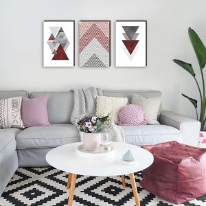 Trio de quadros Geométrico Triângulos Vermelho [BOX DE MADEIRA]