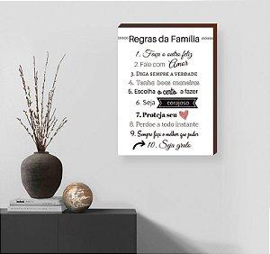 Quadro Decorativo Regras da Família fundo Branco [BoxMadeira]