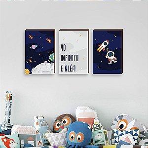 Trio de quadros infantil Ao Infinito e Além [BoxMadeira]