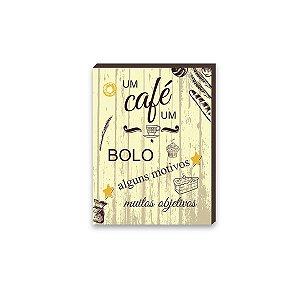Quadro Um Café um Bolo Amarelo  [BoxMadeira]