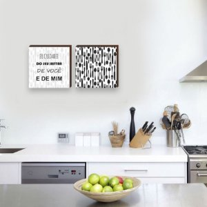 Dupla de quadros de cozinha eu cuidarei do seu jantar Preto e Branco [Box de madeira]