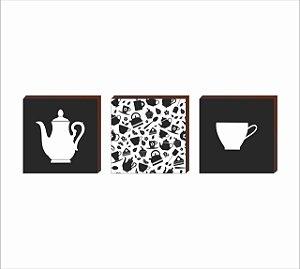 DUPLICADO - Dupla de quadros de cozinha eu cuidarei do seu jantar Preto e Branco [Box de madeira]