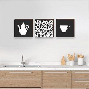 Trio de quadros de cozinha bule e xícara preto e branco - Cantinho do Café [BoxMadeira]