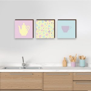Trio de quadros de cozinha bule e xícara Candy Color - Cantinho do Café [BoxMadeira]