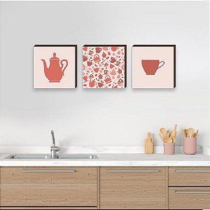 Trio de quadros de cozinha bule e xícara coral - Cantinho do Café [BoxMadeira]