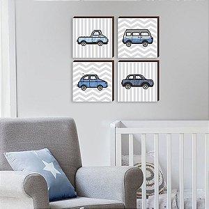 Quarteto de quadros infantil Carros Azuis [BOX DE MADEIRA]