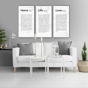 Trio Home + Life + Love Marmorizado Comprido BRANCO [BoxMadeira]