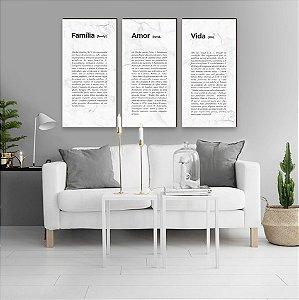 Trio Família + Amor + Vida Marmorizado Comprido Branco [BoxMadeira]