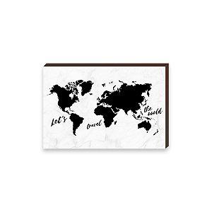 Quadro mapa Preto Marmorizado [BOX DE MADEIRA]