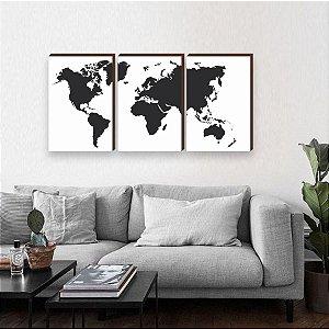Trio de Quadros Mapa Mundi Preto [BOX DE MADEIRA]