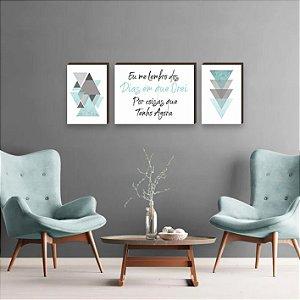Trio de Quadros Triângulos com frase Eu me Lembro dos Dias em que Orei Por Coisas que Tenho Agora Tiffany [BoxMadeira]