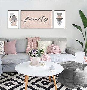 Trio de Quadros Family Cimentado + Geométricos  Rosa [BoxMadeira]