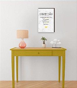 Quadro Decorativo  Gratidão + Frase + Coração Amarelo Fundo Mármore Branco [BoxMadeira]