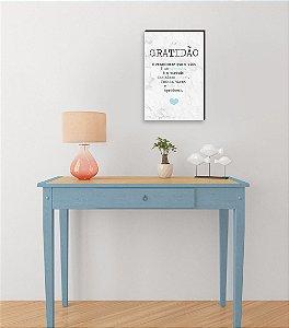Quadro Decorativo  Gratidão + Frase + Coração Azul Claro Fundo Mármore Branco [BoxMadeira]