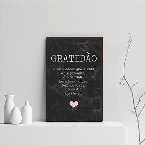 Quadro Decorativo  Gratidão + Frase + Coração Rosa Fundo Marmorizado Preto [BoxMadeira]