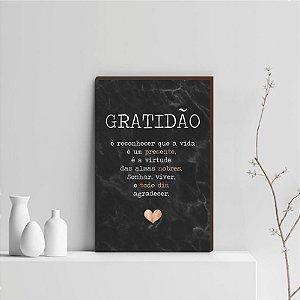 Quadro Decorativo  Gratidão + Frase + Coração Rose Gold Fundo Mármore Preto [BoxMadeira]