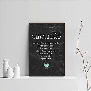 Quadro Decorativo  Gratidão + Frase + Coração Tiffany Fundo Marmorizado Preto [BoxMadeira]