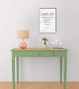 Quadro Decorativo  Gratidão + Frase + Coração Verde Fundo Mármore Branco [BoxMadeira]