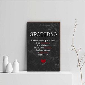 Quadro Decorativo  Gratidão + Frase + Coração Vermelho Fundo Mármore Preto [BoxMadeira]