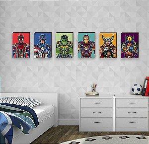 Sexteto de Quadros Super Heróis Marvel Pop Art - Homem Aranha, Capitão América, Hulk, Homem de Ferro, Thor, Wolverine [BoxMadeira]