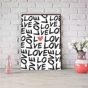 Quadro Love Preto Coração colorido [BOX DE MADEIRA]