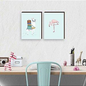Dupla de quadros Llama + Flamingo [boxdemadeira]