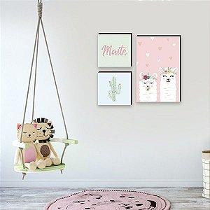 Trio de quadros infantil Nome + Cactos + Llama [BoxMadeira]