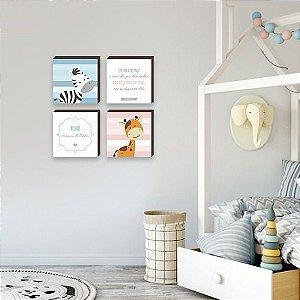 Quarteto de quadros Filhos Herança do Senhor Zebra + Girafa [BOX DE MADEIRA]