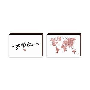 Dupla de quadros Mapa + Gratidão Coração Rose Gold [boxdemadeira]