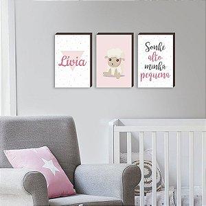 Trio de quadros infantil Sonhe Alto + Ovelha + Nome Fundo Rosa [BoxMadeira]