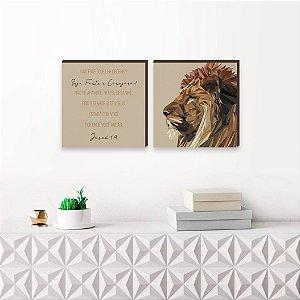 Dupla de quadros Leão de Judá Fundo Bege [Box de madeira]