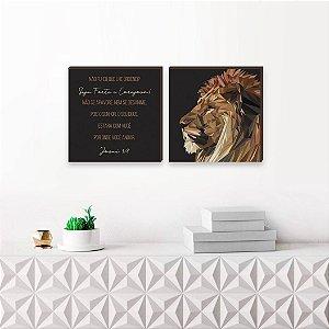 Dupla de quadros Leão de Judá Fundo Preto [Box de madeira]