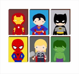 """Sexteto de Quadros Super Heróis Fundo Poá [BoxMadeira]"""""""