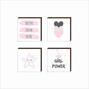 Quarteto de Quadros Decorativos infantil Girl Power [BOX DE MADEIRA]