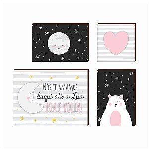 Kit de Quadros Decorativos Lua e Ursa [Box de Madeira]