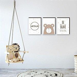 Trio de quadros Be Brave + Urso + Nome [BoxMadeira]